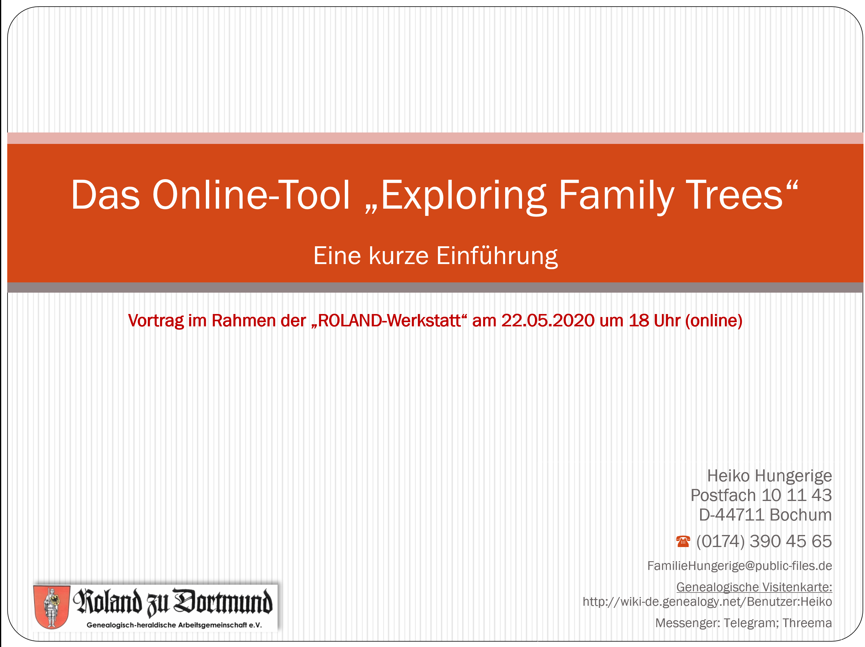 Hungerige (2020), Das Online-Tool 'Exploring Family Trees'