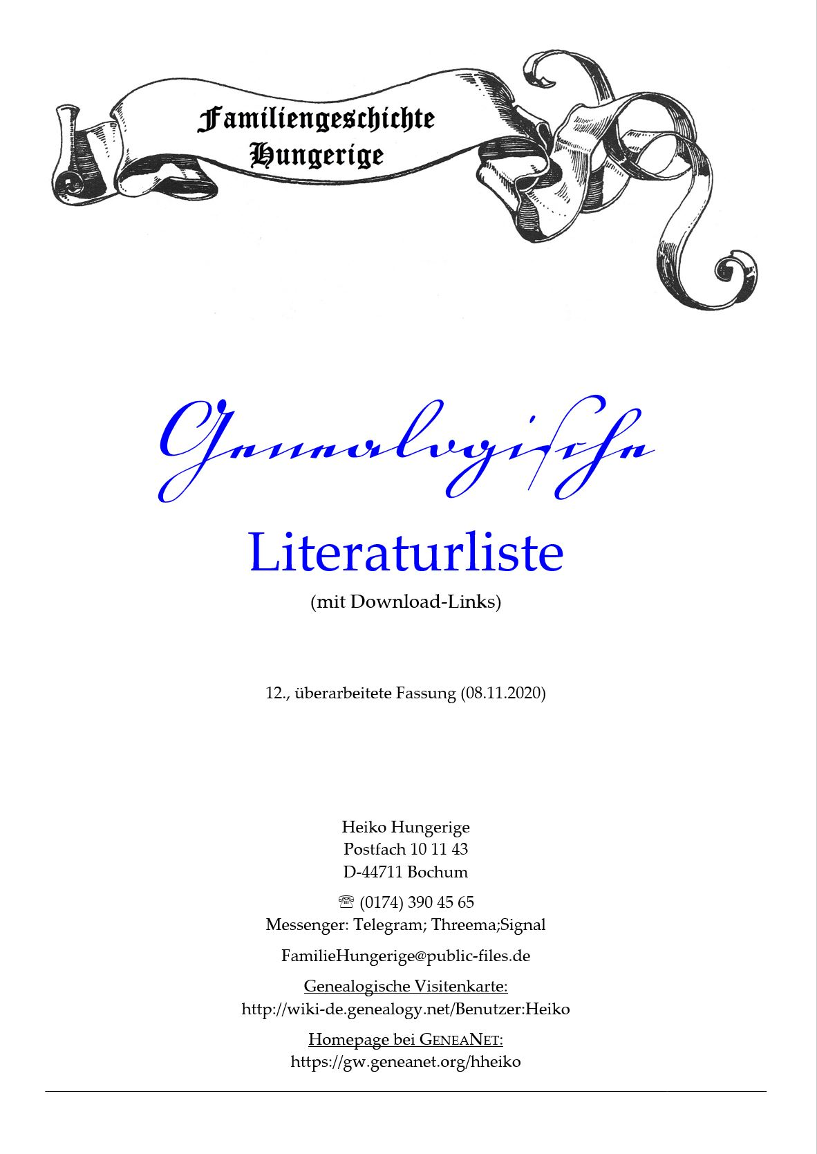 Hungerige (2020), Genealogische Literaturliste (mit Download-Links)